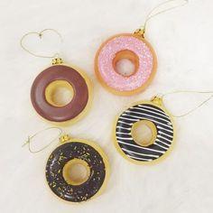 Glass Donut Ornaments, Set of 4