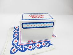 A 'Miracle Whip' Recipe Box - All White Plastic - Empty Inside - Stash and Store - Kitchen - Kitsch - Hard Plastic Box - Red, White and Blue by TheBlackSuitcase on Etsy