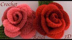Como hacer rosas en 3D de dos colores tejidas con Gancho Crochet paso a paso tejido tallermanualperu - YouTube