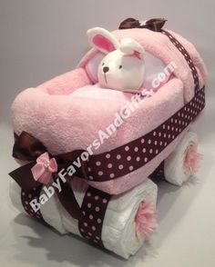 Pink and Brown Baby Carriage Diaper Cake #babyshower #diapercake