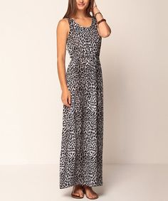Take a look at this Gray Ashley Animal Maxi Dress by Jantie on #zulily today! $24 !!