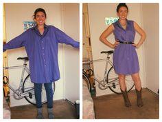 Turn an old men's dress shirt into a cute summer dress!