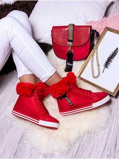 Teplé červené snehule s kožušinou MNNB251P-3CE 3ce, Shoe Closet, Wedges, Outfit, Sneakers, Bags, Shoes, Fashion, Shoe Cabinet