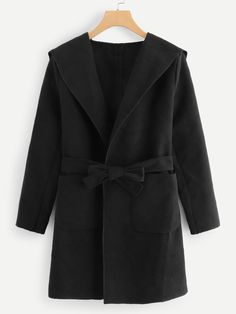 Plus Solid Self-Tie Hooded Coat Trench Coats, Blazers, Types Of Coats, Plus Size Coats, Casual, Mode Hijab, Suit And Tie, Black Pattern, Black Tie