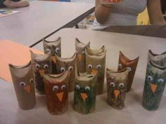 """toilet roll """"owls""""  Cute lil guys!  And nobody will get yelled at for """"seriously, you used ALL THAT TP ALREADY???!!?"""""""