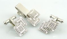 GORGEOUS Vintage 1920s ART DECO Sterling & Marcasites CUFFLINKS & TIE BAR in Box