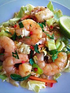 Chilli Prawn Salad. Delicious, sticky, spicy asian inspired prawns served with crisp crunchy cabbage and carrot.