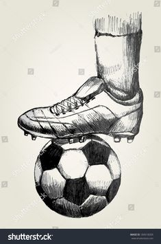 Sketch illustration of a soccer player's foot on soccer ball - buy this vector on Shutterstock & find other images. Art Football, Soccer Art, Play Soccer, Soccer Sports, Soccer Games, Soccer Referee, Bubble Soccer, Live Soccer, Colored Pencils