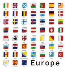 Bandeiras europeias isoladas — Ilustração de Stock Flags Of European Countries, European Day Of Languages, European Flags, Countries And Flags, African Countries, All World Flags, World Country Flags, Teaching Geography, World Geography