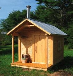 shed plans! Start building amazing sheds the easier way. with a collection of shed plans! Building A Sauna, Shed Building Plans, Shed Plans, A Frame House Kits, A Frame House Plans, Log Cabin Sheds, Sauna House, Log Home Kits, Shed Builders