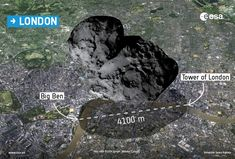 Image shows size of Philae's comet by setting It down on London. You can see it atop Amsterdam, Paris, Rome, Madrid and Darmstadt. Just click on the picture to get the original article. Darmstadt? It's not Germany's capital, but it is the location of the European Space Operations Centre.