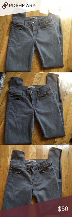 J Brand Grey Zipper Hem Gotham Skinny Jeans J Brand Jeans Gotham style and color is grey ish with a skinny bottom hem and zipper closure! J Brand Jeans