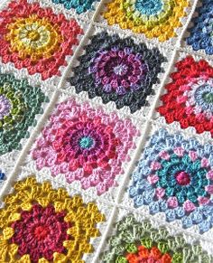Color Wheel Crochet Granny Squares | AllFreeCrochetAfghanPatterns.com