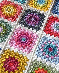 Color Wheel Crochet Granny Squares | AllFreeCrochetAfghanPatterns.com
