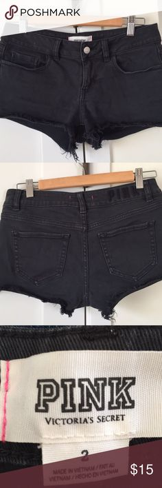Victoria's Secret Black Denim Shorts Victoria's Secret Black denim shorts.  Size 2.  Worn once.  2 inch inseam. Cotton and elastane. PINK Victoria's Secret Shorts Jean Shorts