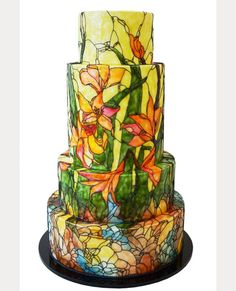 Signature Stained Glass Wedding Cakes from Queen of Hearts Couture Cakes ~ we ♥ this! moncheribridals.com