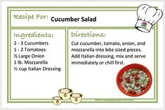 CUCUMBER SALAD Recipes - CREATING A SIMPLER LIFE