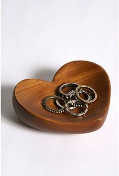 Mango Wood Heart Dish: great for little pretty things...