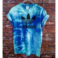 Unisex Authentic Adidas Originals Tie Dye Sea Blue Tie Dye T-Shirt (£31) ❤ liked on Polyvore featuring tops, t-shirts, shirts, grey, women's clothing, t shirts, unisex t shirts, gray t shirt, grey shirt and tiedye t shirts