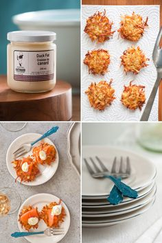Jerusalem artichoke latkes cooked in duck fat, served with Nova Scotia Smoked Salmon recipe.