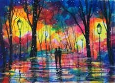 aceo original Rain city streets night painting abstract acrylic art card signed #Miniature