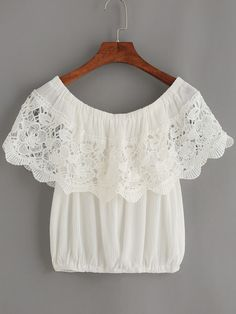 Shop White Crochet Trim Off The Shoulder Top online. SheIn offers White Crochet Trim Off The Shoulder Top & more to fit your fashionable needs.