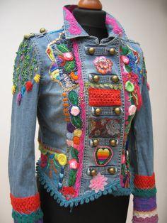 $360.00 USD Upcycled jacket, Wearable Art, Hand Embroidered, Art to wear, Boho, Gypsy Jacket, Hippie Jacket, Upcycled Clothing, Upcycled Jeans