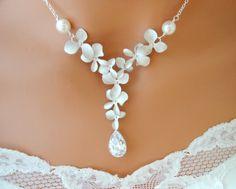 Orchid Necklace Cubic Zirconia Tear Drop Y Wedding Necklace