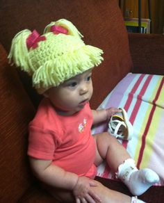 Crochet Cabbage Patch Hair Hat. $15.00, via Etsy.