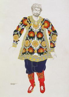 Costume design for a man, from Sadko, 1917 Wall Art Prints by Leon Bakst