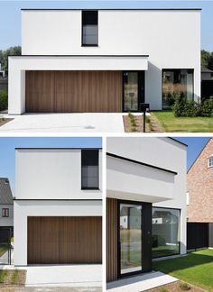 Modern villa with wood accents. White crepi and black aluminum windows, finished with tropical hardwood. Minimal House Design, Modern Villa Design, Minimal Home, Modern House Facades, Modern House Plans, Home Building Design, Building A House, Garage Door Design, Facade House