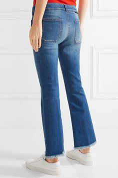 Stella McCartney - Cropped Frayed Low-rise Flared Jeans - Mid denim - 30