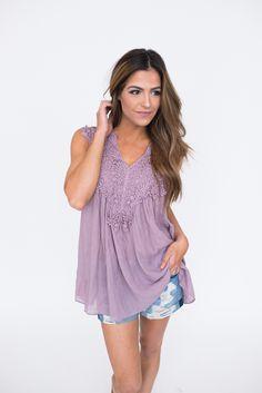 Dusty Purple Crochet Detail Tank - Dottie Couture Boutique