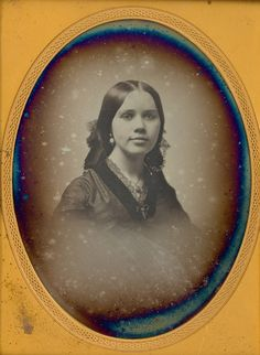 Southworth Beauty    1/4 Plate daguerreotype of a lovely young lady. Housed in a black Boston push button case. Under image written taken by S 1856