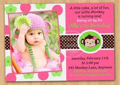 Mod Monkey Girl Birthday Invitation  Custom by printablecandee, $10.00
