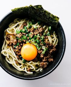 Mazemen Ramen with Sesame Ginger Garlic Beef, Miso Gravy and Egg Yolk