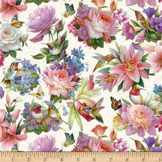 Fabric Designs Hummingbird Bouquet by Elizabeth's Studio Cotton Fabric Yardage - Blue Fabric, Cotton Fabric, Fabric Art, Of Wallpaper, Beautiful Wallpaper, Wallpaper Ideas, Flower Wallpaper, Floral Bouquets, Shades Of Green