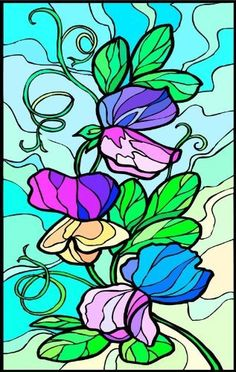 Purple, Pink & Blue Sweet Pea Flowers - Etched Vinyl Stained Glass Film, Static Cling Window Decal by Window Art in Vinyl Etchings. $2.95. Vinyl decal material and ink are safe for outdoor or indoor use.. Clear static-cling vinyl decal effortlessly attaches to glass without the need for any adhesive.. Many standard sizes are available. Custom sizes available upon request.. Advanced UV protection insures material will not discolor or damage glass.. Simple to remove, th...