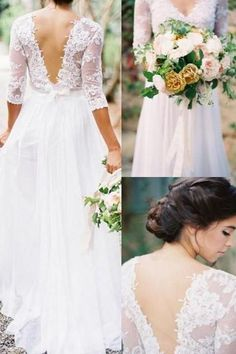 3/4 Long Sleeves White Lace Back V Neck Wedding Dresses Bridal Gowns Wedding Dress LD611