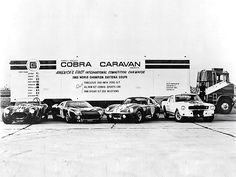 Cobra Caravan: (left to right) 427 Cobra Sports Car, Fabulous 200-mph Ford GT, 1965 World Champion Daytona Coupe, and a 1966 Shelby GT 350 Mustang.