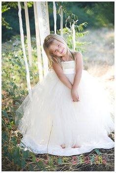 If my flower girl wants to wear a poofy princess dress. Ivory Champagne Flower Girl Tutu Dress with Sash - NB thru 18m. $60.00, via Etsy. FOR FAITH KERRIGAN!
