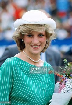 Princess Diana During A Visit To New Zealand Wearing A Dress Designed By Fashion Designer Donald Campbell