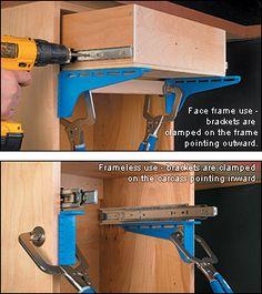 Suzi Wood Working Kreg® Drawer Slide Mounting Brackets - Woodworking Look at woodsmith shop locki., Kreg® Drawer Slide Mounting Brackets - Woodworking Look at woodsmith shop locki. Kreg® Drawer Slide Mounting Brackets - Woodworking Look at woodsmit. Kreg Tools, Wood Tools, Diy Tools, Kreg Jig Projects, Wood Projects, Tool Storage, Diy Storage, Woodworking Projects, Woodworking Furniture