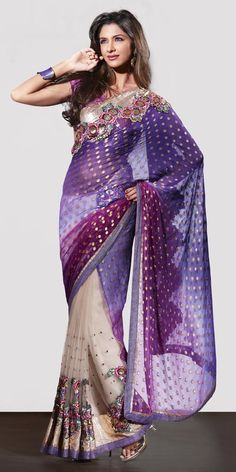 How gorgeous! | Net n Brasso Designer Royal Purple Sari.| Been in love with saris from I was a child: I WILL get one... (Quietly itching & scheming to buy one...)