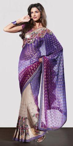 Purple. White. Gold. #indianoutfit #sari