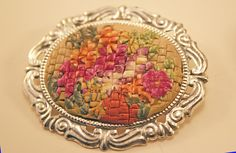 Faux Needlepoint Brooch made from polymer clay by Bits of Clay, via Flickr