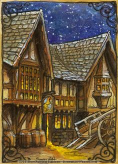 """""""At last they came to The Prancing Pony, and that at least looked outwardly unchanged."""" (Art by Bohemian Weasel) Fellowship Of The Ring, Lord Of The Rings, Lord Sauron, Elf Man, Map Quilt, Jrr Tolkien, Dark Lord, Fantasy Inspiration, Middle Earth"""
