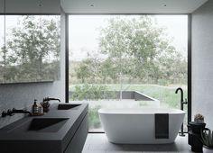 Double Sink Bathroom Vanity Ideas – Why Fight Over the Sink? Trough Sink Bathroom, Double Sink Bathroom, Double Sink Vanity, Vanity Sink, Bathroom Faucets, Modern Bathroom, Master Bathroom, Lavabo Design, Futuristisches Design