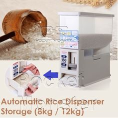[S$9.90](▼86%)★Japanese Automatic Rice Dispenser Storage (8kg / 12kg) Auto cup/ Press and Measure Oil and Vinegar Dispenser/ Kitchen Food Storage Container/ Grain Storage/ No Battery Easy Dry Grocery Brown Rice