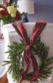 Christmas Decor ~ Red Tartan Plaid - wreaths with tartan ribbon on dining chairs Tartan Christmas, 12 Days Of Christmas, Plaid Christmas, Country Christmas, Christmas Colors, Winter Christmas, Christmas Wreaths, Christmas Crafts, Christmas Decorations